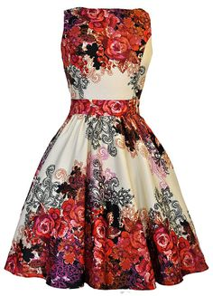 Cream Tea Red Rose Floral Dress Lady V London