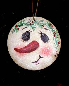 Snowman Handpainted Wooden Ornament by KathysKountry on Etsy