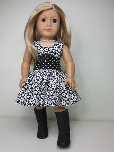 American Girl doll clothes Black and white by JazzyDollDuds