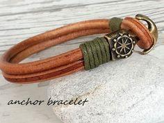 Anchor Bracelet ,Mens Leather bracelet ,Mens Gift  , Handmade Bracelet , Boyfriend Gift ,Friendship bracelet ,Wedding gift by tovvanda on Etsy