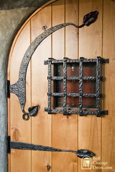 Close up of rustic arch door