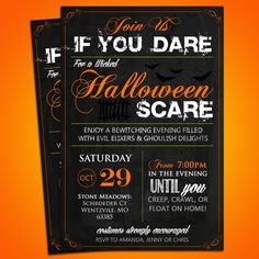 Join us if you dare, for a wicked Halloween Scare! These Subway Art Style Halloween Party Invitations are perfect to creep up your party this year! Get an instant microsoft word template download and customize with your party information!