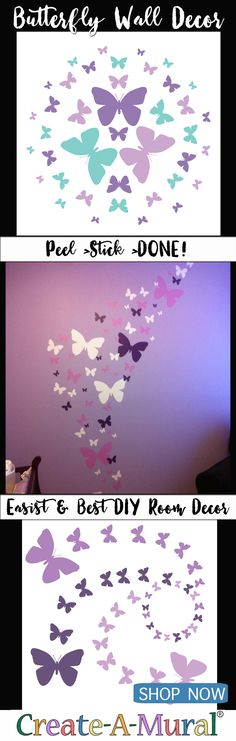 Butterfly Decor Ideas ~Butterflies On Wall Decals, Stickers & Murals make for beautiful instant decor for any room in your house. They come in a wide variety of colors and are made of durable vinyl. Simply peel and stick anywhere you want! If you decide you want the butterfly wall sticker somewhere else just gently pull off and adhere in the new location. Our butterfly wall decor decals do not damage walls or leave any residue. Simply Peel> Stick> CREATE!  #butterfly #butterflydecor…