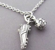 Cleat & Soccer Ball Charm Necklace