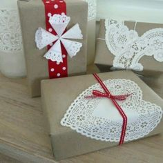 Brown paper wrap with doilies.