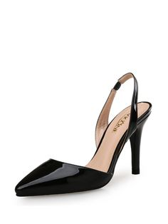 Shop Heels - Black Stiletto Heel Summer Patent Leather Office & Career Heel online. Discover unique designers fashion at StyleWe.com.