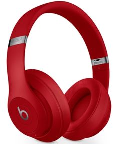 Beats By Dr. Dre Studio 3 Noise-cancelling Wireless Headphones In Red Wireless Headphones Review, Cute Headphones, Over Ear Headphones, Beats By Dre, Beats Studio 3, Noise Cancelling, Smartphone, Laptop, Gifts