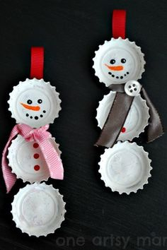 This easy craft is perfect for kids—simply paint old bottle caps white, glue to a single strand of ribbon, and embellish. Get the tutorial at One Artsy Mama.