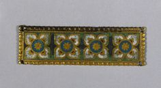 c. 1200-1250 gilded copper and champleve enamel Mosan plaque, prob. from a reliquary shrine (1 1/8 x 3 13/16 in.) - Cleveland Museum of Art 1938.390
