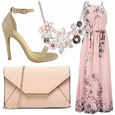 Per una serata elegante, o casual, potete indossare questo bellissimo vestito, lungo fondo rosa e fiori, abbinato a sandali con tacco beige, borsa a tracolla, con catena dorata, collana con fiori rosa.