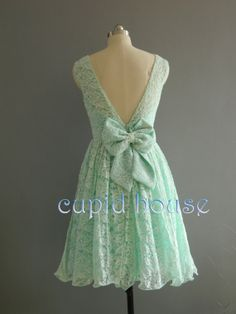 Short Mint Lace Bridesmaid Dress/White Ivory Pink by CupidHouse, $85.00