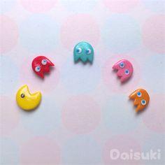 Pacman - set of 5 mix & match Earrings! Hand-sculpted | www.madeit.com.au/daisuki