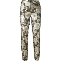 Christian Pellizzari floral jacquard trousers ($335) ❤ liked on Polyvore featuring pants, grey, floral printed pants, metallic pants, grey pants, floral pattern pants and grey trousers