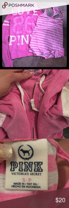 Victoria's Secret lot Victoria's Secret zip up sweater size medium no holes or marks normal wear some discoloration in the armpit, tank top normal wear PINK Victoria's Secret Sweaters