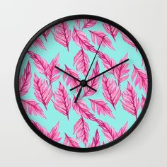 Fuchsia Leaves Wall Clock by lisaargyropoulos Best Wall Clocks, Tic Toc, Cool Walls, Lisa, Leaves, Decor, Products, Decoration, Decorating