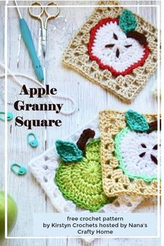 Apple Granny Square Free Crochet Pattern by Kristyn Crochets - - The Apple Granny Square is a free crochet pattern design by Kristyn Crochets hosted by Nana's Crafty Home. A versatile and easy pattern for an apple motif! Granny Square Pattern Free, Granny Square Häkelanleitung, Granny Square Projects, Crochet Squares, Crochet Blocks, Granny Squares, Free Crochet Square, Crochet Apple, Crochet Daisy