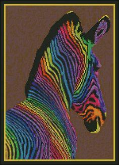 Rainbow Zebra - Needle Point and Cross Stitch Chart Pattern