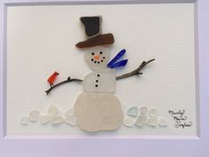 Snowman Cardinal Unique Gift Sea Glass Art by MainlyMaineSeaglass
