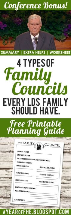 A Year of FHE // Summary, additional resources and FREE printable worksheet for Elder Ballard's talk on Family Councils. #fhe #lds…