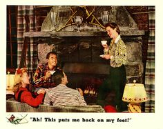 A Tea at the Ski Lodge, 1942 (love both ladies' hairstyles, especially the one in the red!)