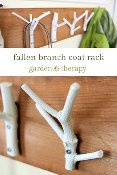 Fallen Branch Coat Rack DIY Project - ENTRYWAY, LOVE THIS - This inexpensive and easy weekend project shows you how to create a stylish coat rack with just some branches, paint, and a few tools. Wood Crafts, Diy And Crafts, Wood Projects, Craft Projects, Diy Coat Rack, Coat Racks, Do It Yourself Inspiration, Ideas Prácticas, Weekend Projects