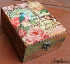 Wooden jewelry box, Elegant gift .decoupage box, shabby chic, punch studio decoration, home decoration, art box, handmade, artificially aged