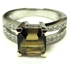 14 kt White Gold Smokey Quartz Ring