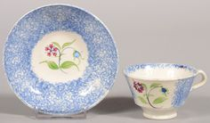 Small Child's Size Blue Spatterware Cup and Saucer. Can : Lot 628