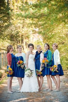 Sweaters On Bridesmaids : charming - think they're perfect for rustic country dos, big barnyard weddings, and hey beach weddings too. Though imagine them being on for just about 15 minutes for all the right photo ops ;)