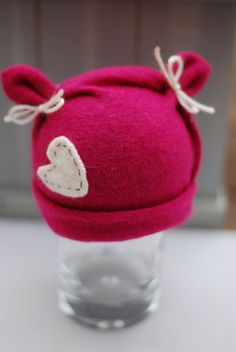 Upcycled  Valentines Hat Custom Order Newborn by CremeDeLaBaby, $32.00