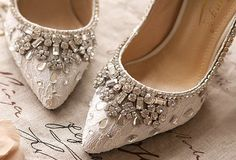 Customised Ivory Bridal Court Shoes with Crystal & by Jojoangelly
