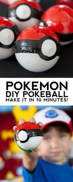 DIY Pokemon Pokeball party favors in less than 10 minutes for less than a dollar!