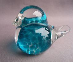 Hand Blown Art Glass Small Blue Bird. $20.00, via Etsy.