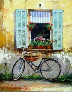 Oil painting of a village window with flowers and bicycle. High quality oil painting to decorate your home and office. Art Gallery, Watercolor Art, Art Painting, Bicycle Art, Bike Art, Oil Painting, Art, Canvas Painting, Bicycle Painting