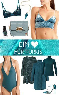 Ich liebe Mode in Türkis! Die aktuellen Stücke zeige ich euch heute.  #türkis #turquoise #petrol #blue #light #fashion #shopping #mode #style #einkaufen #badeanzug #schuhe #heels #high #mantel #wolle #strick #pullover #kleid #bh #lace #lingerie #samt #bralette #mini #microbag #taschen #handbag #accessoires #accessories #nailpolish #necklace #juwel #edelstein