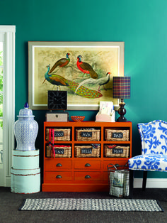 Go ahead, make bold colorful choices! Teal, cobalt and orange decor elements work well with this #HomeGoodsHappy canvas tying it all together. Click through to find your local HomeGoods store to get started.