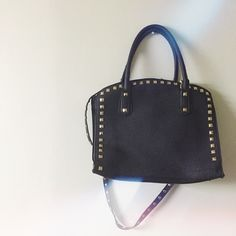 Large black studded handbag w/ straps Preloved Bags Crossbody Bags