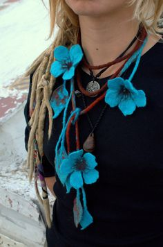 Turquoise  felted necklace with flowers and leaves.