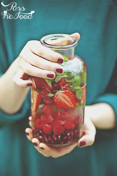 Strawberry, Raspberry & Pomegranate Infused Water Recipe