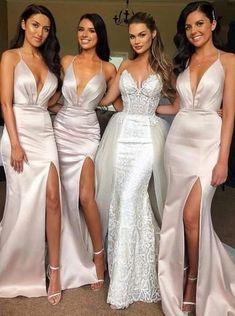 Sexy Halter Side Slit Mermaid Long Bridesmaid Dresses Online, WG305 #bridesmaid #wedding #bridesmaiddresses #weddingidea #bridesmaidsdresses