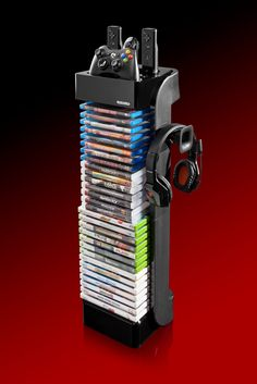 "RT Controller Storage Tower-   ""Design, Function, and Value!  * Holds 28 Games, DVD, and Blu-Ray discs  * Holds 2 XBOX 360 or PlayStation 3 controllers or 4 Wii Remote and 2 Nunchuk and 1 headset"