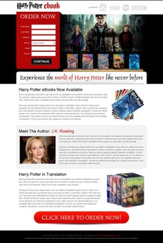 harry potter ebook lead generation appealing and attractive landing page design