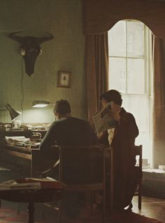 PLEASE, CAN WE TAKE A MOMENT TO APPRECIATE THE HEADPHONES ON THE WALL ANIMAL HEAD!?! <------ didn't see this before :`) god I love the Sherlock fandom