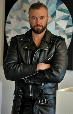 Mens Leather Shirt, Biker Leather, Leather Men, Leather Jacket, Motard Sexy, Leather Fashion, Mens Fashion, Beautiful Men Faces, Male Photography