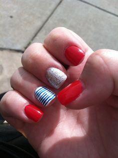 USA #nails red white blue sparkles stripes ❤️ #nailart