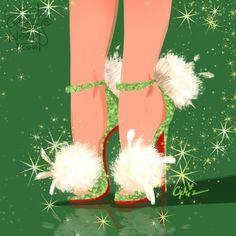 Day 6-- Tinkerbell in @louboutinworld pluminette super fluffy poms #griz #grizandnorm #fanart #fashionart #fashionillustration #shoedesign #shoelust #shoeenvy #disney #tink #tinkerbell #louboutin #pluminette #christianlouboutin