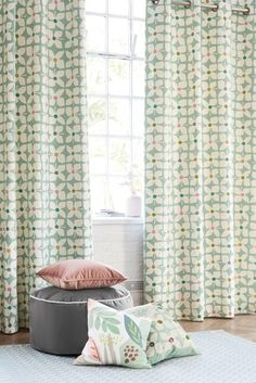 Buy Retro Geo Floral Eyelet Lined Curtains from the Next UK online shop Pleated Curtains, Floral Curtains, Lined Curtains, Living Room Decor, Bedroom Decor, Bedroom Ideas, Bold Colors, Colours, Pencil Pleat