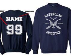 Kapitän - Custom Ravenclw Quidditch-Team Captain WHITE Print hinten Marine Rundhals Sweatshirt