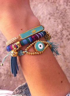 Χειροποίητα βραχιόλια - Handmade bracelets Spring-Summer 2015 Arm Candy Bracelets, Jewelry Bracelets, Evil Eye Bracelet, Hippie Chic, Friendship Bracelets, Jewlery, Bling, Beads, Jewelry Ideas