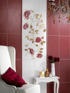 This beautiful dark red & gold floral design will add elegance and sophistication to any bathroom, while the solid blocks of colour keep it modern.  It's a design that could easily be replicated with wallpaper or decals too.  This inspiration taken from Lushome.